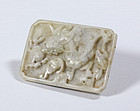 Chinese Jade Dragon Belt Plaque, Yuan or Ming.