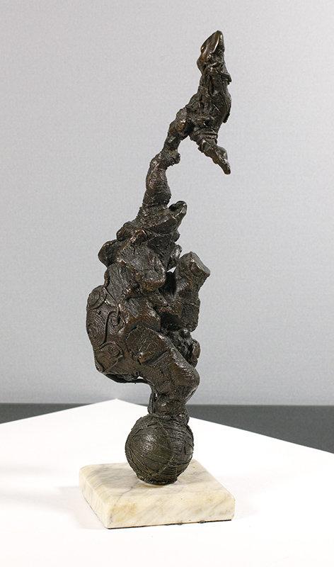 Bronze Circus Elephant and Acrobat.