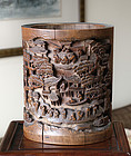 A Good Large Chinese Bamboo Bitong, Brush Pot. 19th Century.