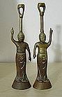 Rare Old Pr. Japanese Infant Buddha Bronze  Lamps