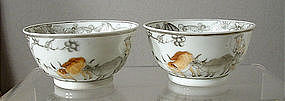 Chinese Export En Grisaille Bowls, Qianlong