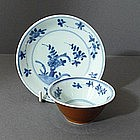 Chinese Export Kangxi Bowl and Saucer, 17thC.