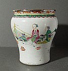 Unusual Chinese Famille Rose Brushpot, 18thC.