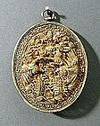 Good Straits Chinese Silver Gilt Dragon Pendant