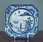 An Unusual Arita Blue & White Dish, late 18th C.