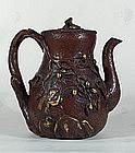 Amazing Japanese Copper Clad Pottery Ewer, Meiji.