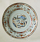 A Chinese Export Famille Verte Plate, Kangxi.