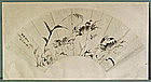 Old Chinese Fan Painting, Crabs, 19 C.