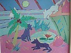 Fanciful Charming KEY WEST Scene FRED GROS ca 1990