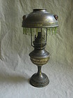 Small Brass Oil Lamp and Shade with Glass Insets