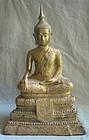 """14"""" Gilt Bronze Seated THAI BUDDHA 19th Century"""