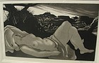 Exquisite Aquatint DOEL REED Nude in Landscape 1946