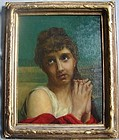 Victorian Portrait of Lovely Young Woman in Gilt Frame
