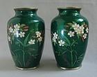 Pair Ginbari Cloisonne Vases - Fine Floral Decoration