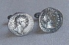 Silver Roman Coin Cuflinks - Sterling Backs