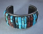 Heavy Raised Inlaid Turquoise/Stone/Silver Signed Cuff