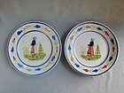 Matching Pair HB Quimper France Plates pre WWII