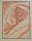 Monogramed Sepia Drawing - Exotic Art Deco Woman