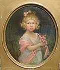 Beautiful O/C Young Blonde Girl with Flowers ca 1880