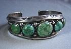 Heavy Five Stone Stamped Navajo Bracelet - Harvey Era