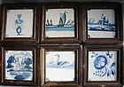 Six Framed 18th Century Dutch Delft Tiles