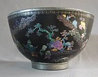 Fine Pewter Base 18th Century LAC BURGAUTE Chinese Bowl
