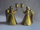 Pair Brass Angel Candlesticks LOS CASTILLO Taxco c 1950