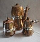 Copper and Silver Coffee/Chocolate 3 Piece Set VICTORIA