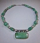 Jadeite-Aventurine-Silver Modernist Necklace