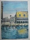 Large Colored Etching BELA SZIKIAY Doges Palace Venice