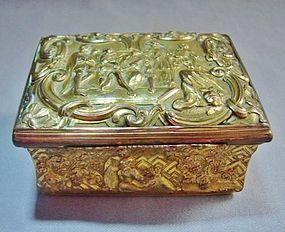 Gilt Bronze Rococo Pictorial Snuff Box - ca 1800