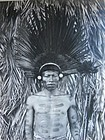 Original Photo Amazon Rain Forest Native with Headdress