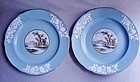 Pair Spode Copelands China Cabinet Plates - Pastoral Lake Scene