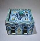 Architectural Form Islamic Pottery Inkwell 19th Century