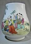 Fine Kuang Hsu Porcelain Vase - Garden Scene With Boys Picking Flowers