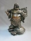 Chinese Bronze Standing Pu-Tai Figure Late Qing