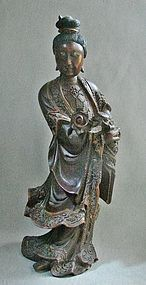 19th Century Red Lacquer Standing Quan Yin with Ruyi Scepter