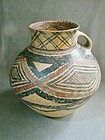 Large Neolithic Chinese Painted Pottery Vessel - Unusual Form