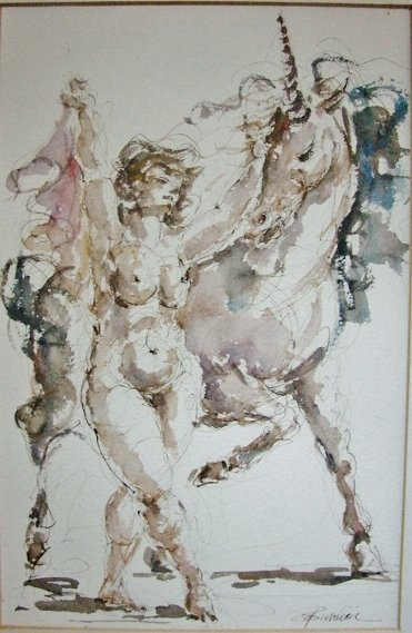 Ink and Watercolor Nude with Unicorn - Charles Burdick
