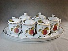 6 Pot de Creme and Serving Platter Evesham Royal Worcester ca 1970