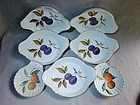 5 Plum Au Gratin 2 Scallop Dishes Evesham Royal Worcester ca 1970