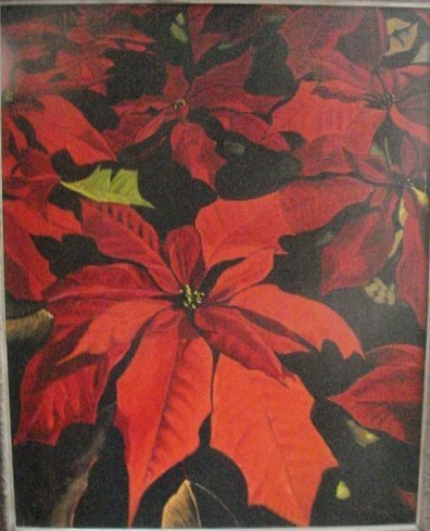 Large and Vivid Poinsettia Painting - Florida Artist