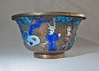 Chinese Enamel on Copper Bowl - Figural Scene ca 1900