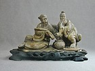 Soapstone Sculpture - Two Figures with Ruyi, Basket and Pipe