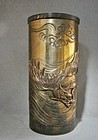 Large Bronze Cylinder Vase with Dragon Waves Clouds