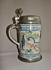 Large Pewter Mounted 18th Century Tin Glaze German Tankard