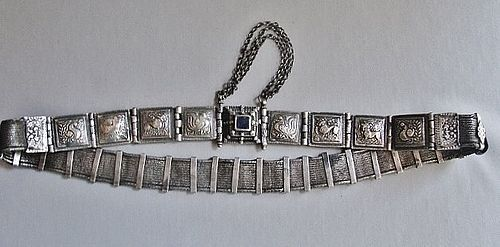 Beautiful Articulated Silver Belt - Tamil Nadu Arapatti - India ca1900