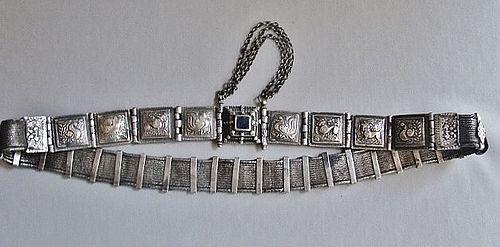 Beautiful Articulated Silver Belt - Tamil Nadu Arapatti - India ca1900