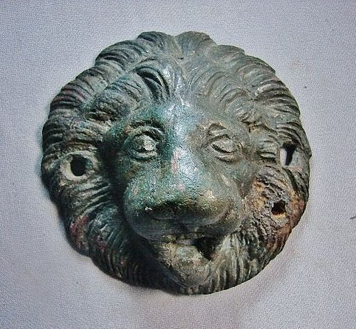 Roman Bronze Lion's Head Roundel/Applique