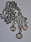 Post Byzantine Silver Pectoral Cross and Chain - Greek Coins